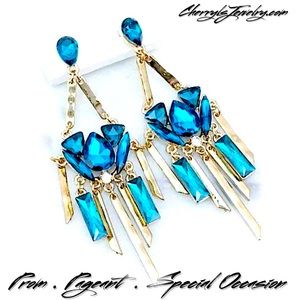 Cherryl's Jewelry - Teal Crystal & Hammered Gold Chandeliers